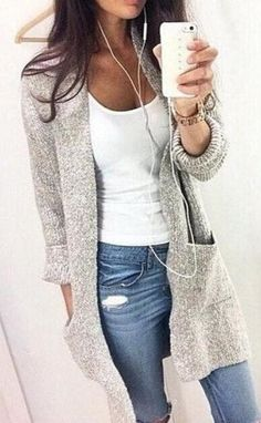 summer outfits Grey Cardigan + White Tank + Ripped Jeans