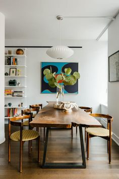 How We Decided on Our Family-Friendly Dining Room Layout - - We thought our biggest issue was figuring out the kid-friendly table and chairs, until we decided to switch around the layout for maximum comfort. Luxury Dining Room, Dining Room Design, Dining Rooms, Dining Chairs, Mid-century Modern, Sweet Home, Dining Room Inspiration, Decoration Design, Interiores Design