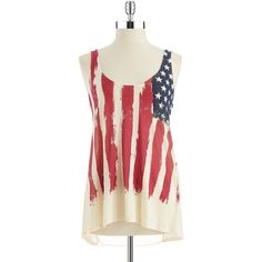 WHITE CROW American Flag Tank ($14) ❤ liked on Polyvore featuring tops, shirts, tank tops, remeras, blusas, parchment, sleeveless tops, red tank top, red sleeveless top and graphic tank tops