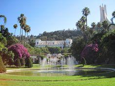 Musée des Beaux arts et Makam el Chahid vus depuis le Jardin d'essai. Alger , Algerie