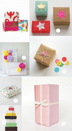 I luv esp the mini pom poms on white paper (10) ---- link doesn´t work ---- over 15 different gift wrap DIY's, products, and inspirations!