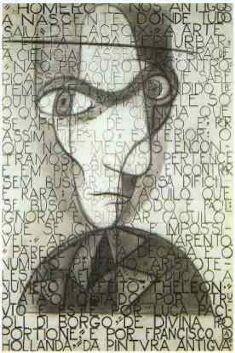 Self-Portrait - Jose de Almada-Negreiros. Note: portrait superimposed on typography. Art Painting, Portrait Drawing, Face Art, Artist Inspiration, Illustration, Painting, Visual Art, Art, Pop Art