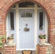 Love, love, love this London Door in Duck Egg Blue🥚 Thanks Cottage Front Doors, Front Door Porch, Cottage Porch, House Front Door, House Doors, Front Door Decor, House Entrance, Entrance Hall, Grey Composite Front Door