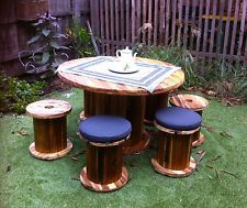 industrial cable reel table indoor/outdoor setting Cable Reel Table, Cable Drum, Indoor Outdoor, Outdoor Decor, Outdoor Settings, Outdoor Furniture Sets, Recycling, Industrial, Landscape