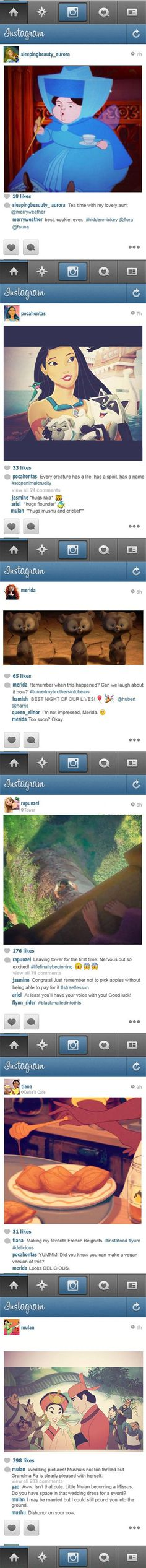 If Disney princesses had Instagram. I'm not into Instagram but some of these are really clever!