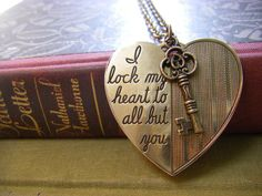 "Hearts:  #Heart and #Key #Necklace. ""I lock my heart to all but you."""
