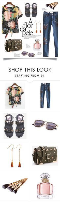 """Casual Floral"" by mahafromkailash ❤ liked on Polyvore featuring Guerlain, floral, embroidered, knotted and shein"