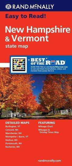 Rand McNally Easy To Read! New Hampshire/ Vermont State Map Rand Mcnally Easy to Read! FOL MAP