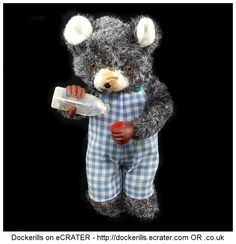 Thirsty Bear ALPS / IWAYA, Japan (Picture 2 of 2). Vintage Tin Litho Tin Plate Plush Covered Toy. Wind-Up Mechanism.