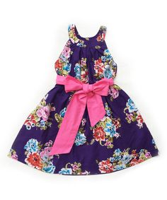 Loving this Sophie Catalou Purple Floral A-Line Dress - Infant, Toddler & Girls on #zulily! #zulilyfinds