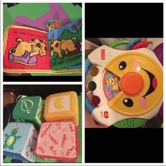Bundle of Baby Toys Soft learning blocks, soft book, and Fisher Price Learning Toy Other