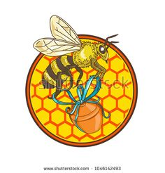 Icon retro style illustration of a bumblebee or bumble bee, member of genus Bombus, part of Apidae of bee family, carrying honey pot with beehive and hexagonal honeycomb floor set inside circle. Bee Family, Find Icons, Bugs And Insects, Beehive, Honeycomb, Retro Fashion, Carry On, Royalty Free Stock Photos, Retro Style