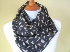 Black Little Cat scarf  Neck warm Long Soft wrap Lady by NKnitting, $16.00