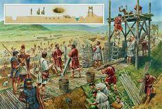 El sitio de Alesia por los romanos,una brillante táctica romana en la Galia,al ver a los galos de Vercingetorix agrupados en un fuerte construido por los galos,Julio César envuelve la fortaleza gala con otras construcciones para aislar a los galos y esperar a que se murieran de hambre o se rindieran,una obra de ingeniería de considerable dimensiones