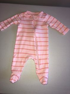 details about 3 6 months splendid baby girl one piece sleeper footed striped pink pajamas