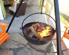 Cauldron Fire Pit with Double Bottom
