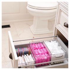 Bathroom organisation - Love a good secret stash 💗 home bathroom storage Bathroom Drawer Organization, Bathroom Organisation, Organization Hacks, Organized Bathroom, Organizing Ideas, Organization Ideas For The Home, Organising, Dorm Bathroom, Bathroom Shelves