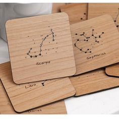 Zodiac Constellation - Laser Cut and Etched on Wood Coasters - Set of 4
