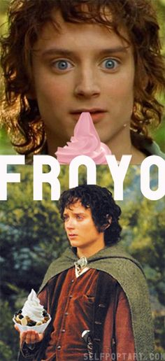 frodo meet frozen yogurt. there's an android joke in here somewhere too. froyo.