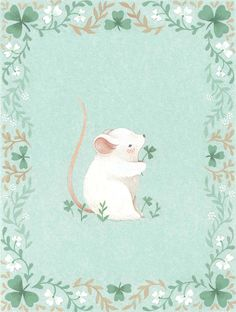 Patricks mouse illustration ☘ on Behance Mouse Illustration, Character Illustration, New Year Art, New Art, Art And Craft Images, Mouse Sketch, Cute Rats, Baby Clip Art, Naive Art