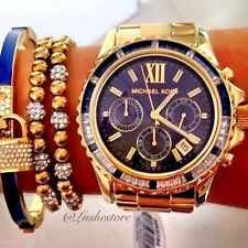 Michael Kors MK5754 Everest Gold Navy Crystal Bezel Glitz Women Chrono Watch