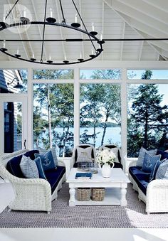 Love this room - the views, light, ceiling treatment, decor. House tour: Coastal-style cottage - Style At Home Beach Cottage Style, Coastal Cottage, Beach House Decor, Coastal Style, Coastal Decor, Lakeside Cottage, Coastal Bedding, Coastal Farmhouse, Cottage Living