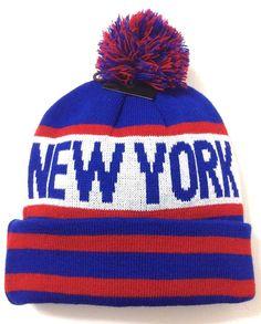 NEW YORK POM BEANIE Giants-Colors Blue/Red/White Winter Knit Ski Hat Men/Women #KBTrading #Beanie