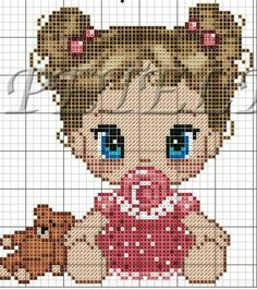 Que linda menina Baby Cross Stitch Patterns, Cute Cross Stitch, Cross Stitch Flowers, Cross Stitch Kits, Cross Stitch Charts, Pixel Crochet, Crochet Cross, Cross Stitching, Cross Stitch Embroidery