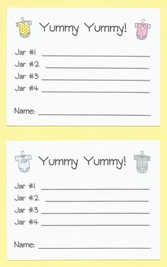 Yummy, Yummy Baby Food Shower Game - Guess the Baby Food Games, Baby Food Tasting Shower Game, Fun and Easy Shower Games, Cheap Shower Games - Anda James - HOME Baby Food Game, Baby Games, Baby Shower Games, Baby Shower Parties, Baby Boy Shower, Diaper Shower, Babyshower, Juegos Baby, Lunch Boxe