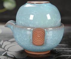 1 Teapot+1 Teacup Quik Cup 2016 NEW MOEL Drinkware GREEN Easy Teapot Cup 160ml Bubble Purple Clay Travel Bowl Office Tea set