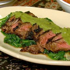 Sam Kass' Grilled Steak with Pablano Sauce and Sauteed Spinach.