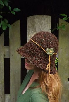 Autumn cloche hat, with a lovely textured wool and silk yarn. Etsy shop https://www.etsy.com/uk/listing/470713087/autumn-brown-cloche-hat-ladies-cloche