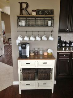 Coffee bar: Could just use an old desk, screw plywood on top and stain, add a rack for the mugs and mason jars to hold tea, coffee, sugar, etc. Extra storage underneath with wicker baskets