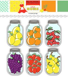 Fruit  mason jar tags / printable food labels / digital collage sheet / instant download / food gift tags / printable jar / canning labels