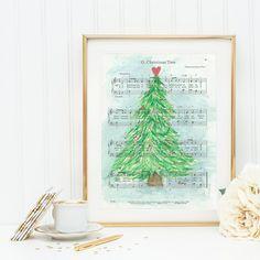O Christmas Tree  Sheet music  Christmas tree watercolor