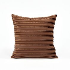 16 X 16 Chocolate Brown Striped Velvet Throw Pillow by BHDecor, $23.95