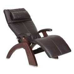 Furniture, Modern Human Touch Perfect Chair Silhouette Zero Gravity Recliner Chairs With Dark Brown Leather And Wooden Glossy Frame ~ Interesting Modern Recliner Chair with Comfortable Seating Designs