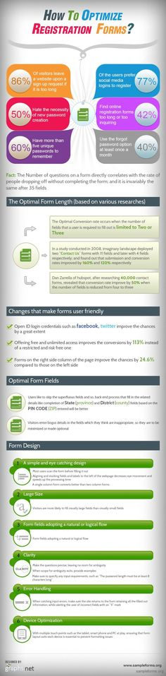 How to optimize registration forms #infografia #infographic #marketing