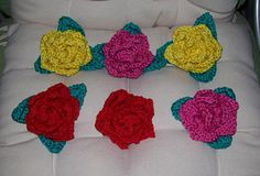 Crochet Rose Spike Petals and One Piece Triple Leaf by Cathy Wood