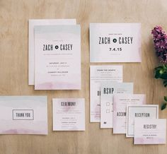 The watercolor dip wedding invite set is a trendy design that offers everything from the save the date, wedding invite, enclosures, and thank you cards all in a matching set.