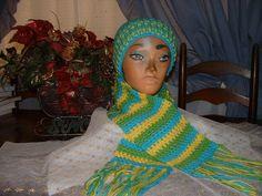 Crochet Aqua,Yellow & Lime Green Men/ Women Accessorie Scarf & Benie Hat Set     #Handmade #LongScarfHatBenie