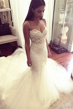 elegant spaghetti straps wedding dresses with appliques, charming mermaid wedding dresses, affordable bridal gown with lace