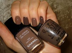 Chanel 505 and OPI Suzi Loves Cowboys. Wearing the OPI right now! Brown Nail Polish, Nails Polish, Brown Nails, Nail Polish Colors, Nail Colour, White Nails, Love Nails, How To Do Nails, Fun Nails