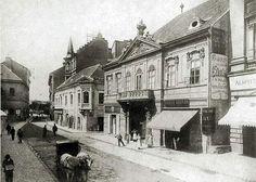 Péterffy palota, Pesti Barnabás utca 2., 1890 körül Budapest Hungary, Utca, Street View, History, Painting, Historia, Painting Art, Paintings, Painted Canvas