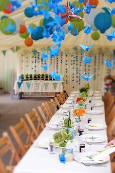 Love the origami birds and lanterns Wedding Pins, Wedding Blog, Wedding Details, Diy Wedding, Wedding Flowers, Dream Wedding, Wedding Day, Seaside Wedding, Wedding Crafts