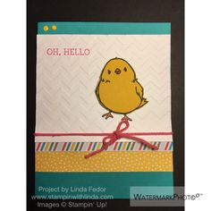Oh, Hello Bright Chick Card Using Stampin' Up! Honeycomb Happiness Stamp Set/ www.stampinwithlinda.com