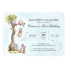 Pooh & Friends Watercolor Tree First Birthday Invitation Watercolor, First Birthday Cards, 1st Birthday Invitations, Baby Shower Invitations, Custom Invitations, First Birthdays, Disney Invitations, Birthday Gifts, Birthday Ideas, Baby Birthday
