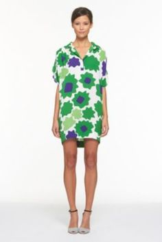 DVF | Karin Dress In Large Paper Buds Green, Spring 2012: Beginnings