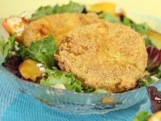 Fried Green Tomato Salad. Get this recipe from Kimberly's Simply Southern on Great American Country >>  http://www.greatamericancountry.com/living/food/fried-green-tomato-salad?soc=pinterest
