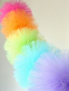 Pom poms with tulle instead of tissue paper